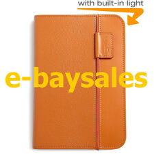 OFFICIAL AMAZON KINDLE KEYBOARD 3G LIGHTED GENUINE LEATHER CASE COVER TAN ORANGE