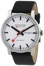 NEW MONDAINE A132.30348.11SBB SWISS EVO AUTOMATIC DAY/DATE LEATHER STRAP WATCH