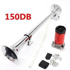 12V Single Trumpet Air Horn Chrome + Compressor Super Loud 150db For Truck Lorry
