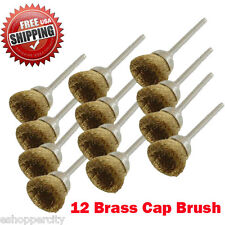 "12 Rotary Brass Cap Wire Brush  Arbor for Dremel Fordom Tool 1/8"" Shank Polish"