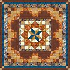 Quilt Kit/Rolling Star Medallion Pre-cut FabricS/Blue/Brown/QN/EXPED SHIP