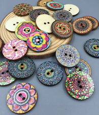 20pcs Wooden Sewing Flowers Buttons Scrapbooking Decorations 2-Holes 25mm
