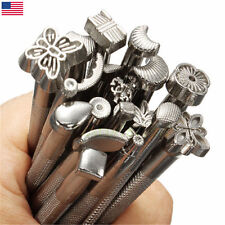 20PCS Leather Tools Working Saddle Making Set Carving Craft Stamps Punch DIY USA