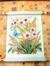 Asian Blossoms Cross Stitch Kit Dimensions Lena Liu Flower Butterfly Wood Scroll