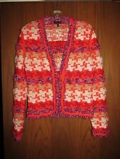 Escada $1,695 Bright Orange Red Purple Houndstooth Tweed Knit Logo Cardigan 38 8