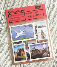 Set of 18 travel inspired vintage style stamp stickers - Kawaii Travel Journal