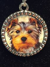 "Yorkshire Terrier Dog Puppy Charm Tibetan Silver with 18"" Necklace BIN"