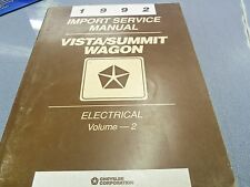 1992 Chrysler Vista/Summit Wagon Import Service Manual Electrical Volume 2