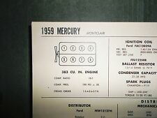 1959 Mercury Montclair 383 CI V8 SUN Electric Tune Up Chart Sheet Great Shape!