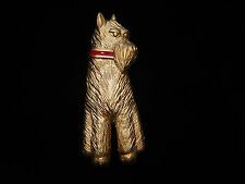 Gold Terrier Dog Scottie Dog Pin Gold Tone Red Collar Terrier Dog Brooch