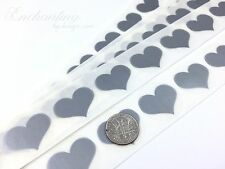 """100 - Scratch Off Labels .70"""" Silver Heart Stickers"""