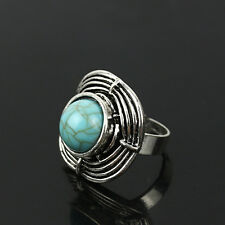 Ethnic Vintage Retro Silver Turquoise Finger Rings Adjustable #7 Boho Jewellery