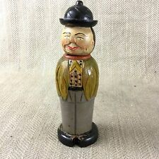 Vintage Wooden Clothes Hat Brush  Art Deco Japanese Man Carved Wood Figure Vtg