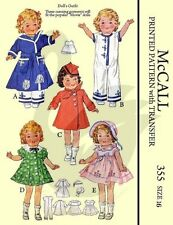 Reproduction Vintage Shirley Temple Doll Clothes Sewing Pattern McCalls 355