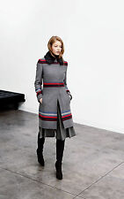 Karen Millen Grey Striped Coat with Fur Collar Size 16