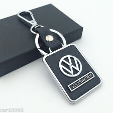 BLACK Leather Metal CAR Logo Key chain Keyring pendant key holder FOR Volkswagen