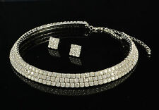 3 ROW CRYSTAL RHINESTONE DIAMANTE COLLAR CHOKER NECKLACE  EARRINGS SET