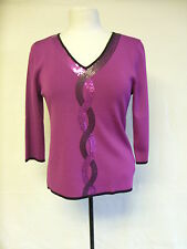 Ladies Top -  Vogue, size 12/14, dark pink, pink/black sequins, little worn 0339
