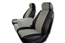 CHEVY SILVERADO 2007-2013 BLACK/GREY IGGEE S.LEATHER CUSTOM FRONT SEAT COVER