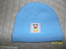 Solid Blue Gerber Cotton Knit Cap with Cute Owl Patch Boys NB-6 mos
