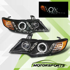 [CCFL Halo+LED Parking]For 2010 2011 2012 2013 Kia Forte Koup Black Headlights