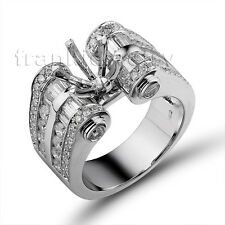 Big!8mm Round 18Kt White Gold Brilliant Diamonds Semi Mount Engagement Ring
