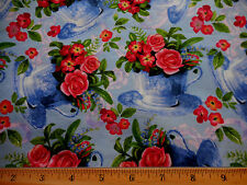 Floral Fabric 1 1/8 Yd Pink Roses in Cups on Blue David Textiles Quilting Cotton