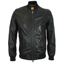 BOSS Orange - Jaggo Black Leather Bomber Jacket - Size 54  (UK44) - RRP £400