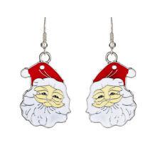 Mignon Blanc & Rouge Père Noël Goutte Pendants Boucles D'oreilles Cadeau De E667