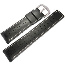 22mm Hirsch Performance Tiger Perforated Black Leather Rubber Watch Band Strap