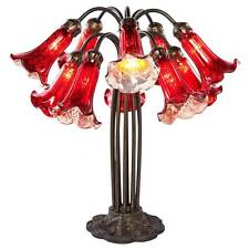 21-inch Red Mercury Glass 10-lily Downlight Table Lamp