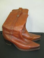 ALDO 41 10 BOOTS cognac leather upper scallop trim wood stacked cowboy western