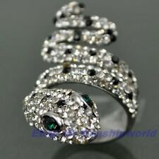 3pcs Wholesale Size 6 Ring,REAL CRYSTAL GEMSTONE SNAKE 18K WHITE GOLD GP SOLID