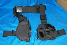Tactical Drop Leg Holster & Ammo Pouch 9mm .40 .45 Small Medium Frame Automatic