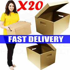 20 x STRONG A4 FILING ARCHIVE STORAGE REMOVAL CARDBOARD BOXES WITH HANDLES