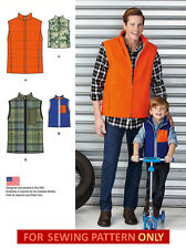 SEWING PATTERN! MAKE BOY~MEN MATCHING VEST! DAD~SON!  S~M~L~XL!  WINTER CLOTHES