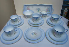 SHELLEY CHINA 20 piece TEA COFFEE SET BLUE  'DAISIES' C 12555 DECO 1930's