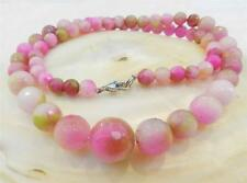 6-14mm Faceted Pink Multicolor Kunzite Round Gemstone Beads Necklace