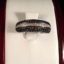 New Sterling Silver Black White Diamond Pave Cluster Wedding Cocktail Ring 7 1/4