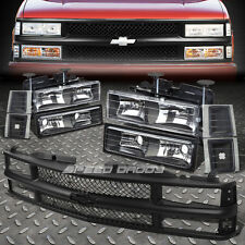 BLACK HOUSING HEADLIGHT+BUMPER+CORNER LIGHT+GRILLE GUARD FOR 94-02 CHEVY C10 C/K