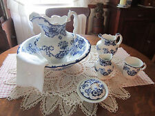 Antique 8 pc. Chamber set - Colonial Pottery - Huron pattern - Stoke England EC