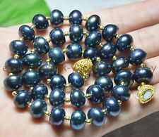 """RARE 9x12MM NATURAL TAHITIAN BLACK PEARL RONDELLE BEADS NECKLACE 19.5"""" AA"""