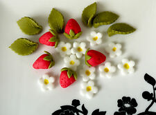 Edible red sugar strawberries with flowers for cake/cupcake decorations x50