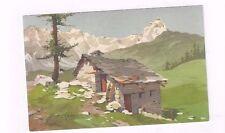 SWITZERLAND antique hp dp post card Mont Cervin signed S Bonelli
