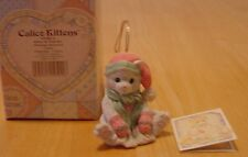 Calico Kittens Cat in Pink Hat & Mittens Hanging Christmas Ornament 1993
