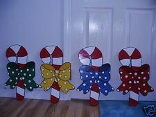 4- HAND MADE,HAND PAINTED CANDY CANES CHRISTMAS YARD ART DECORATION