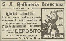 W3369 Lubrificanti SUPERICINO - S.A. Raffineria Bresciana - Pubblicità 1930