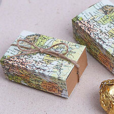 10Pcs Craft Paper World Map Drawers Wedding Favors Party Candy Gift Boxes Bags