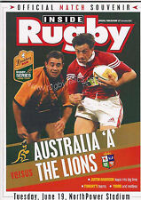 BRITISH LIONS 2001 v AUSTRALIA 'A' RUGBY PROGRAMME