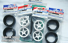TAMIYA 1/10 RC CAR TIRE(50810)+WHEEL(53232)+HARD INNER, Semi Slick SET
